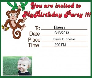 free printable monkey birthday invitation