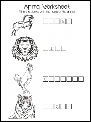 Animal Fill-In the Blanks - And Name The Animal Worksheet