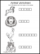 Animal Fill-In Worksheet