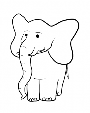 Elephant coloring in between the lines template