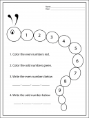Color in Odd and Even Worksheets