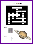 Planets Crossword Puzzle - The Planets