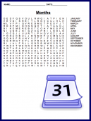 Months Word Search Puzzle