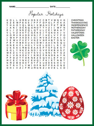Popular Holidays Word Search Puzzle