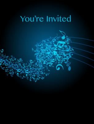 blue music party invitation