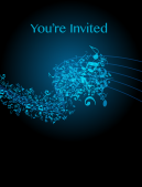 You're Invited! Blue Colored Music Themed Party Invitation