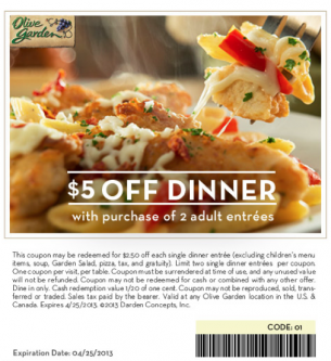 Olive Garden Coupons 5 Off Special