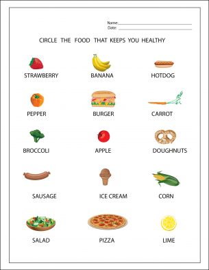 healthy foods worksheet