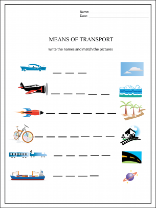 Means of Transport Worksheets