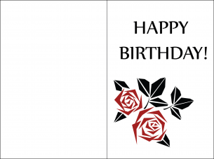 Minimalist Red Petal Birthday Card Print Now