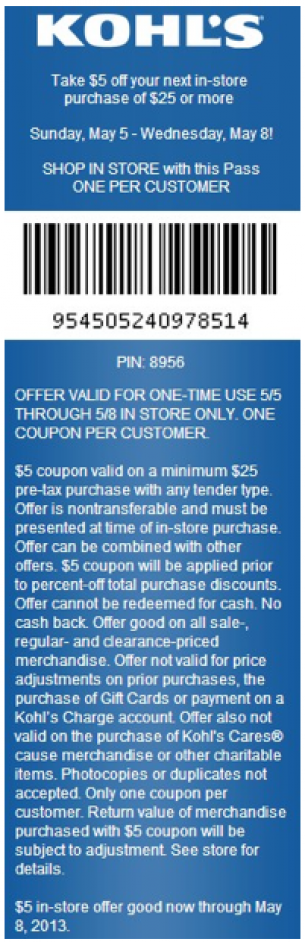 Kohls 5 dollars off coupon code