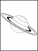 Saturn Coloring Sheet - Line drawing of Saturn amd the rings around the planet ready to color it in...