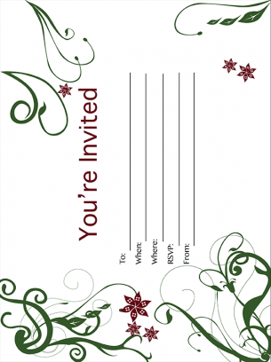 Flower and Vine Party Invitation
