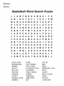 Basketball Word Search Puzzle