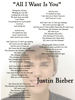 All I Want For Christmas Is You Lyrics To Print.All I Want Is You By Justin Bieber