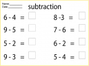 Printable Math Worksheets Subtraction