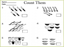 Printable Math Worksheets Counting and addition  - Finding The Amount Of Each Eating Utensil