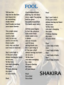 Fool by Shakira Lyrics Sheets