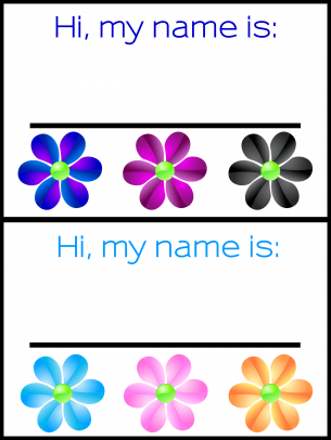 photo regarding Printable Name Tags for Preschool called Flower Track record Tags