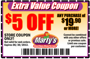 Marty's shoes coupon 2018