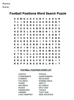 Football Positions Word Search Puzzle