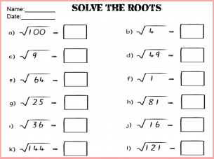 Printables Perfect Square Worksheets math roots worksheets