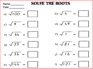 square root math worksheet