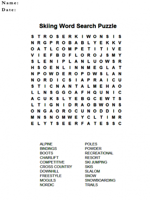 graphic relating to Winter Word Search Free Printable named Snowboarding Wordsearch Puzzles