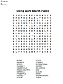 Skiing Wordsearch Puzzles