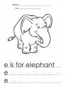 Free e is for elephant letter writing worksheet