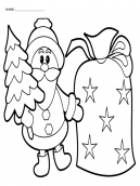 Coloring Pages Santa holding Tree