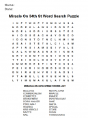 Wordsearch Puzzles Miracle on 34th Street