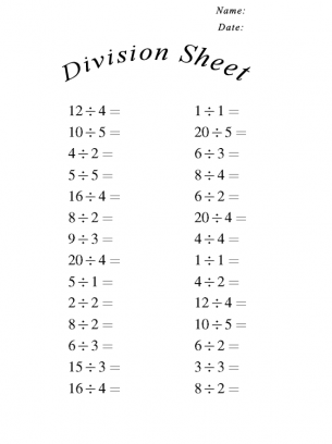 Worksheets Division