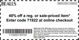 Bealls coupons 40