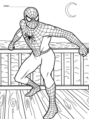 Spiderman Coloring Sheets flying