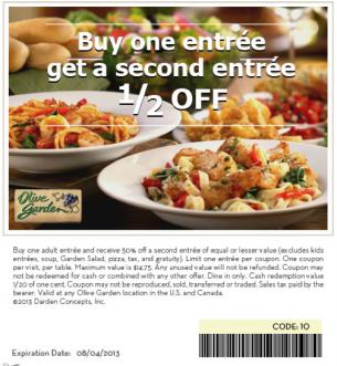 Olive Garden Buy 1 Get 1 Half