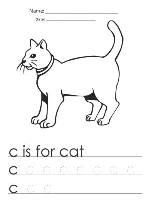 Number Names Worksheets : letter c worksheets for kindergarten ...