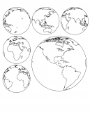 Globe Coloring Sheets - Show the globe from six different angles