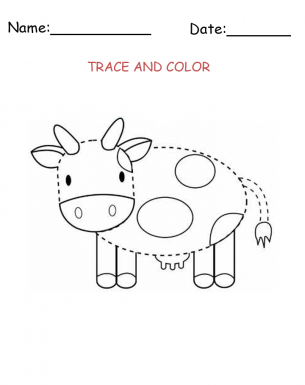 Activities templates Trace a Cow