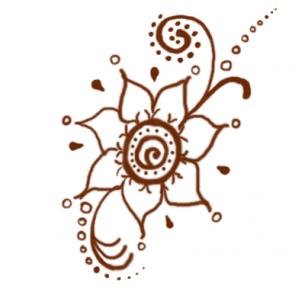 Printable Brown Flower Henna Tattoo
