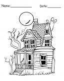 Printable Haunted House Coloring Sheet