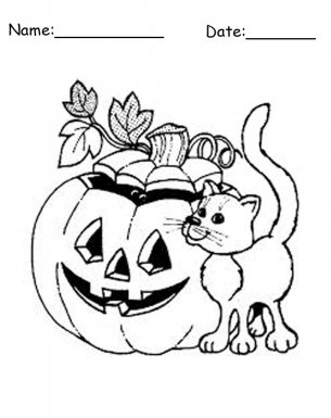 Cat & Pumpkin Free Printable Coloring Sheets