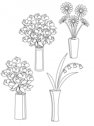 Flowers in a Vase Coloring Sheets