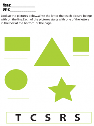 Beginning Letter Printable Worksheets