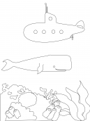 Submarine and Whale Coloring Sheets