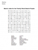 Word Find Puzzles - Mom's Jobs for her Family Word Search Puzzle
