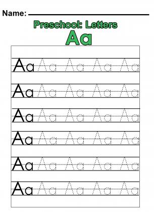 """Number Names Worksheets free printables for teachers preschool : Preschool """"A"""" Practice Worksheet"""