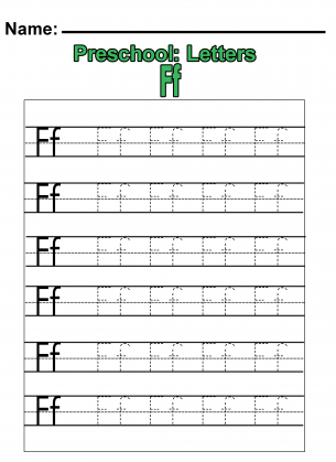 "Preschool ""F"" Practice Worksheet"
