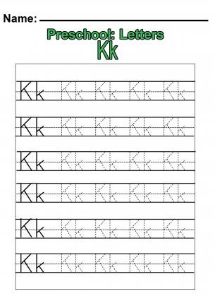"Preschool ""K"" Practice Worksheet"