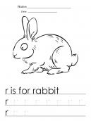 R for Rabbit Worksheets for Kindergarten
